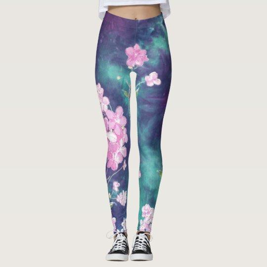 Pink Flowers and Purple Teal Tie Dye Leggings