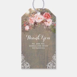 Pink Flowers and Rustic Wood Wedding Gift Tags