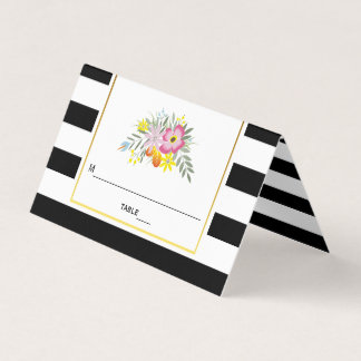 Pink flowers and stripes wedding folded escort place card