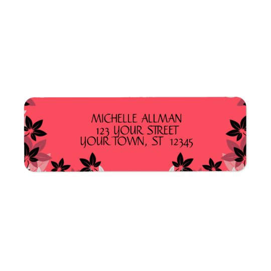 Pink Flowers Avery Label Return Address Label
