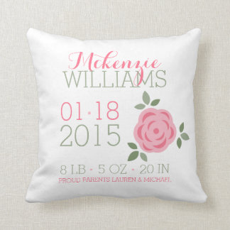 Pink Flowers Baby Birth Announcement Pillow