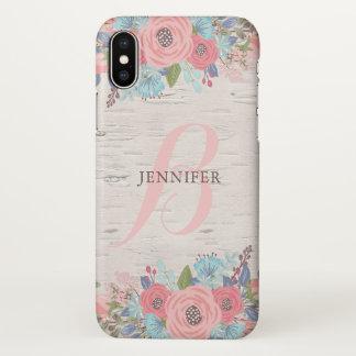 Pink Flowers & Birch - Pretty Monogram iPhone X Case