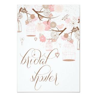 Pink Flowers & Birdcages Bridal Shower Invitations