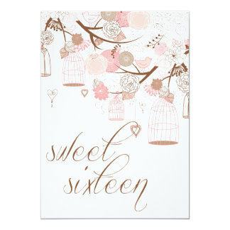Pink Flowers & Birdcages Sweet Sixteen Invitations