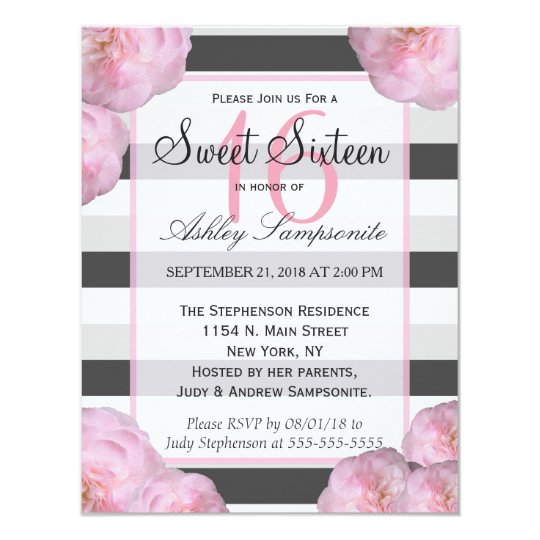 Pink Flowers & Black, Grey, & White Stripes Card