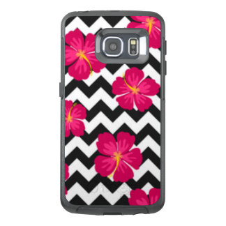 Pink Flowers Black White Chevron Pattern Design