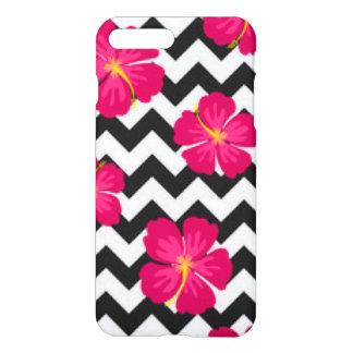 Pink Flowers Black White Chevron Pattern Design iPhone 8 Plus/7 Plus Case