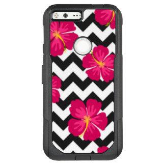 Pink Flowers Black White Chevron Pattern Design OtterBox Commuter Google Pixel XL Case