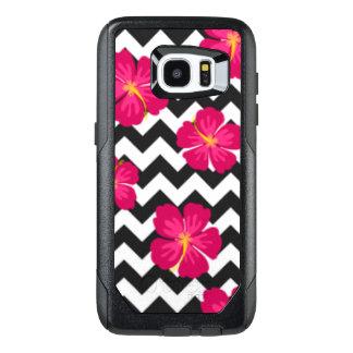 Pink Flowers Black White Chevron Pattern Design OtterBox Samsung Galaxy S7 Edge Case
