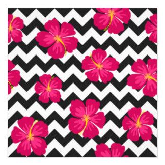 Pink Flowers Black White Chevron Pattern Design Photo Print