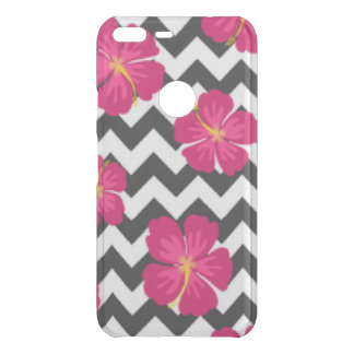 Pink Flowers Black White Chevron Pattern Design Uncommon Google Pixel XL Case