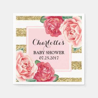 Pink Flowers Blush Gold Stripes Baby Shower Paper Napkin
