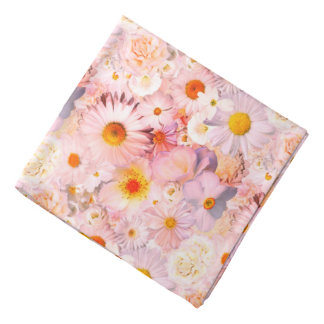 Pink Flowers Bouquet Floral Wedding Bridal Spring Bandana