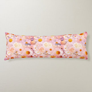 Pink Flowers Bouquet Floral Wedding Bridal Spring Body Pillow