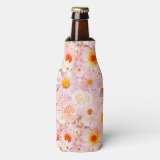 Pink Flowers Bouquet Floral Wedding Bridal Spring Bottle Cooler