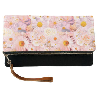 Pink Flowers Bouquet Floral Wedding Bridal Spring Clutch