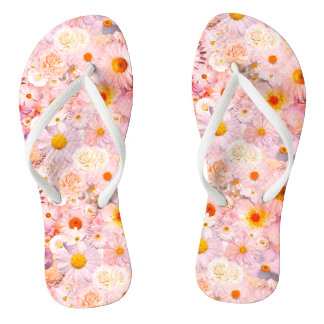 Pink Flowers Bouquet Floral Wedding Bridal Spring Flip Flops