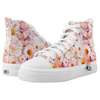 Pink Flowers Bouquet Floral Wedding Bridal Spring High Tops