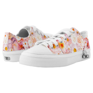 Pink Flowers Bouquet Floral Wedding Bridal Spring Low-Top Sneakers
