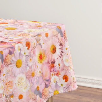 Pink Flowers Bouquet Floral Wedding Bridal Spring Tablecloth