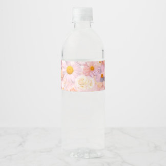 Pink Flowers Bouquet Floral Wedding Bridal Spring Water Bottle Label