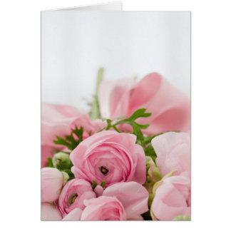 Pink Flowers Bouquet, Love Wedding Romance Greeting Card