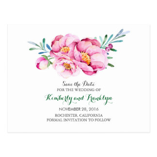 pink flowers bouquet watercolor save the date postcard