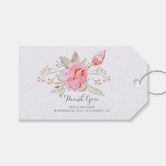 Pink Flowers Bouquet Watercolor Wedding Gift Tags