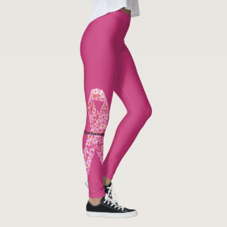 Pink Flowers Breast Cancer Support Ribbon Leggings