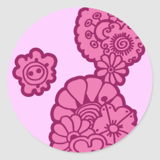 Pink Flowers Classic Round Sticker