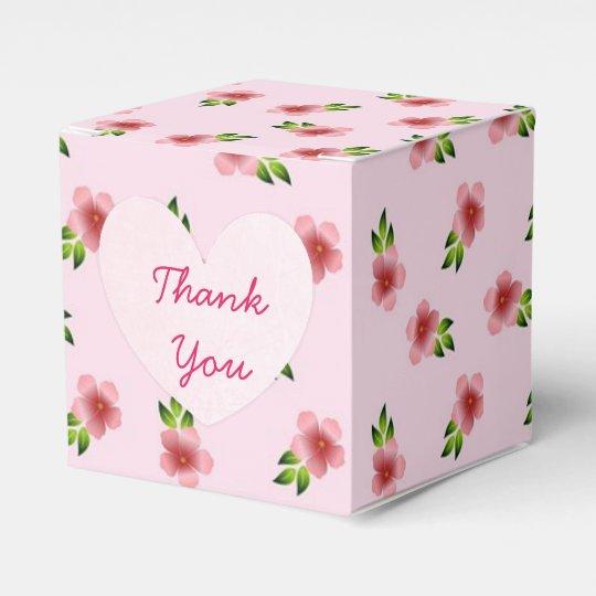 Pink Flowers Cupcake Box Favor Box