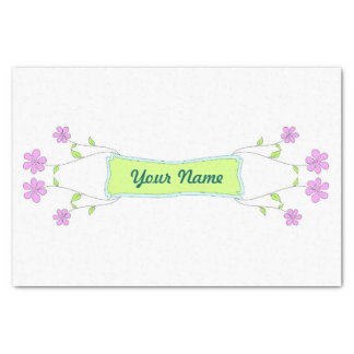Pink Flowers Custom Name Tissue Paper