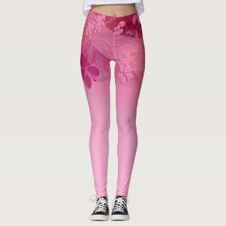 Pink flowers cute leggings