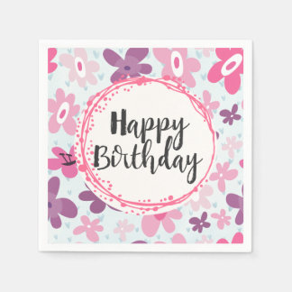 Pink Flowers Cute Whimsical Pattern Birthday Paper Napkin