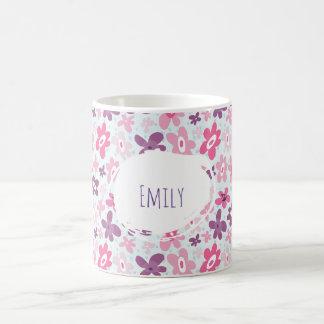 Pink Flowers Cute Whimsical Pattern Personalized Coffee Mug