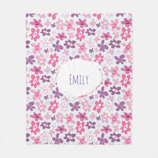Pink Flowers Cute Whimsical Pattern Personalized Fleece Blanket