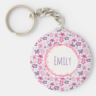 Pink Flowers Cute Whimsical Pattern Personalized Keychain