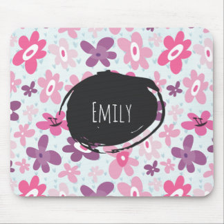 Pink Flowers Cute Whimsical Pattern Personalized Mouse Pad