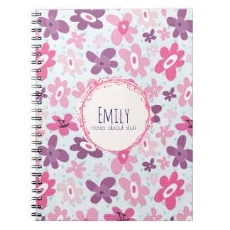 Pink Flowers Cute Whimsical Pattern Personalized Notebooks