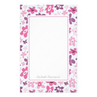 Pink Flowers Cute Whimsical Pattern Personalized Stationery
