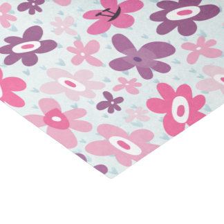 Pink Flowers Cute Whimsical Pattern Tissue Paper