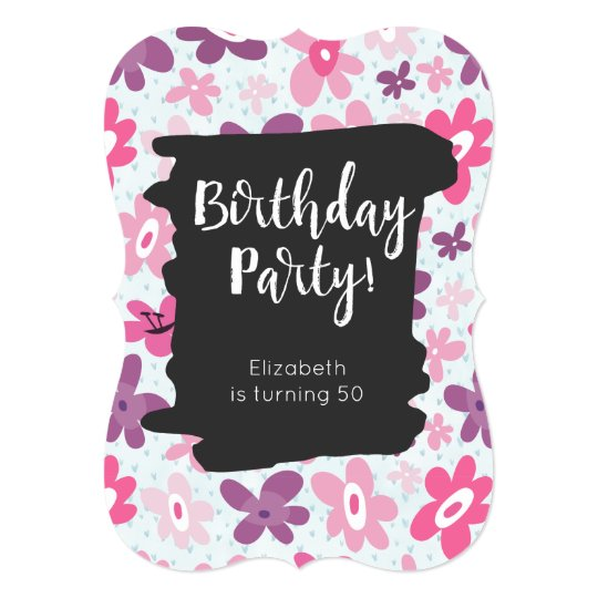 Pink Flowers Cute Whimsical Retro Birthday Party Card