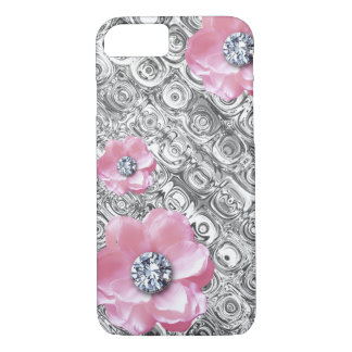 Pink Flowers Diamond Centers Silver Pattern iPhone 8/7 Case