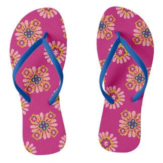 Pink Flowers Effect Flip Flops