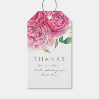 Pink Flowers Elegant and Romantic Watercolors Gift Tags