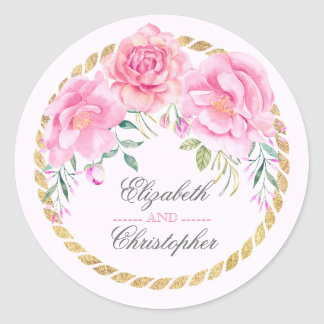 Pink Flowers Elegant Watercolors Gold Wrap Wedding Classic Round Sticker