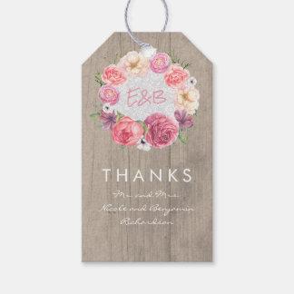 Pink Flowers Elegant Watercolors Wreath Gift Tags