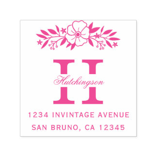 Pink Flowers & Family Name Monogram Return Address Self-inking Stamp