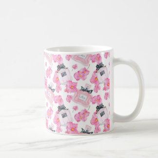 Pink Flowers Fashion Parfume Coffee Mug