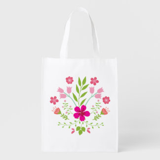 Pink Flowers Floral Pattern Reusable Grocery Bag